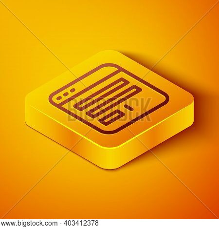 Isometric Line Browser Window Icon Isolated On Orange Background. Yellow Square Button. Vector