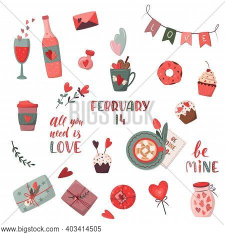 Set Of Romantic Elements. Valentine's Day, Birthday Or Wedding Concept. Love, Romantic Vector Illust