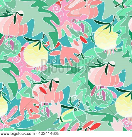 Seamless Pattern With Lush Tropical Vegetation In Luminous Colors. Repeating Background With Surreal