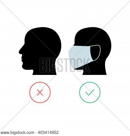 Men Head With Protective Mask. No Entry Without Face Mask Icon. Coronavirus Concept. Vector Isolated