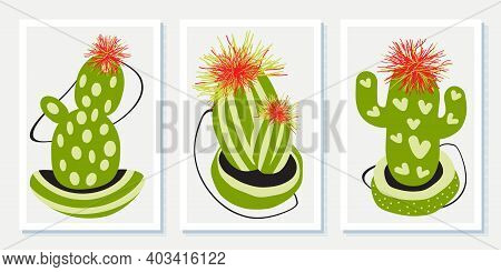 Botanical Set Wall Art Of Abstract Cacti. Drawing With Abstract Shape. Art Design For Print, Cover,