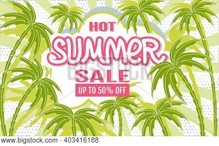 Hot Summer Sale. Sales Banner. Summer Tropical Background With Palm Trees Silhouettes. Template For