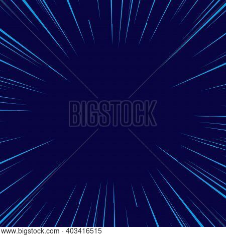 Flat Design Blue Comics Background With Space For Text. Effect Motion Lines. Template For Design Of