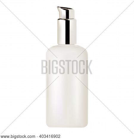 Pump Bottle. Cosmetic Serum Pump Dispenser, Vector Mockup, Isolated On White Background. Face Founda