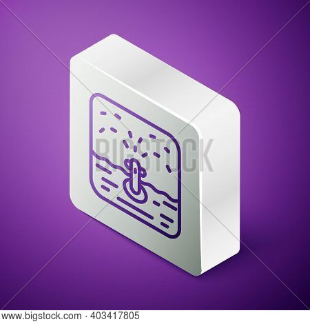 Isometric Line Automatic Irrigation Sprinklers Icon Isolated On Purple Background. Watering Equipmen