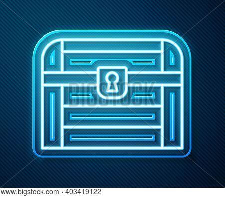 Glowing Neon Line Antique Treasure Chest Icon Isolated On Blue Background. Vintage Wooden Chest With