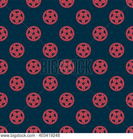 Red Line Pentagram In A Circle Icon Isolated Seamless Pattern On Black Background. Magic Occult Star