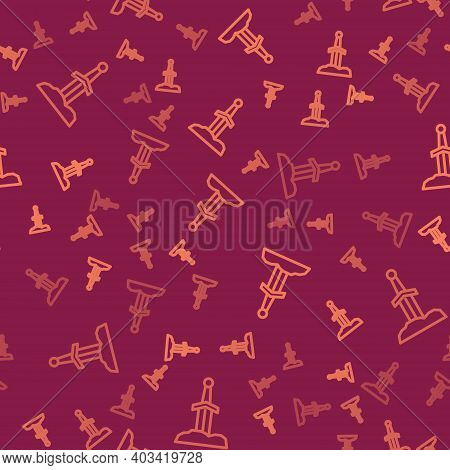 Brown Line Sword In The Stone Icon Isolated Seamless Pattern On Red Background. Excalibur The Sword