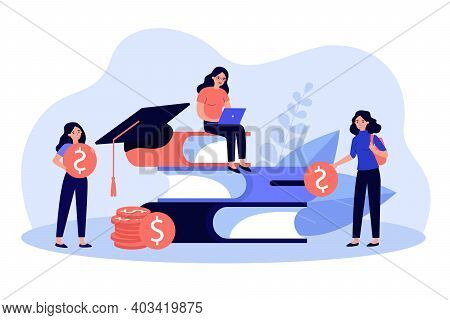 Tiny Students Near Pile Of Big Books Learning For Scholarship Flat Vector Illustration. Cartoon Peop