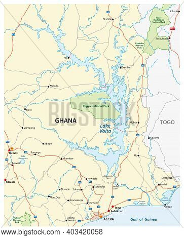 Vector Map Of The Largest Reservoir In The World Lake Volta, Ghana