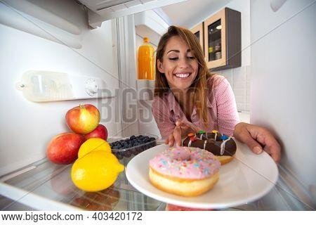 It Is Donut Time, Brunette Girl Eating From The Fridge