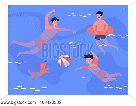 People Enjoying Leisure Time In Swimming Pool. Bathing, Water, Ball Game, Dog. Flat Vector Illustrat