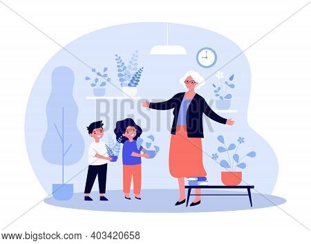 Kids Giving Houseplants To Grandma. Children With Potted Plants Visiting Grandparents. Flat Vector I