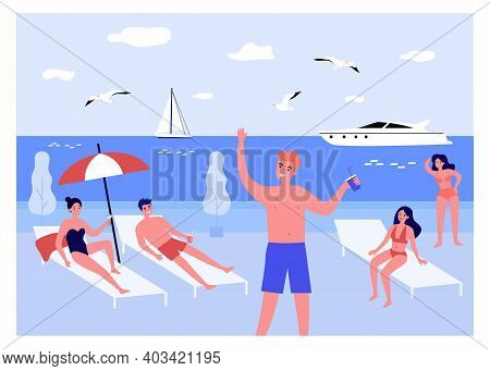 Happy Young People Relaxing On Beach At Sea. Drinking Cocktails, Getting Tan, Yacht. Flat Vector Ill