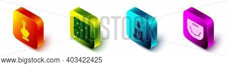 Set Isometric Hand Holding Casino Chips, Game Dice, Casino Dealer And Poker Table Icon. Vector