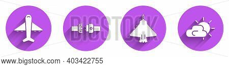 Set Plane, Safety Belt, Jet Fighter And Sun And Cloud Weather Icon With Long Shadow. Vector