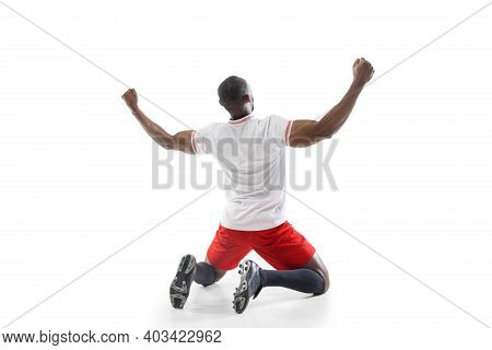 Highly Upset, Nervous. Funny Emotions Of Professional Football, Soccer Player Isolated On White Stud