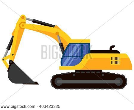 Excavator Side View. Special Machinery In Cartoon Style.