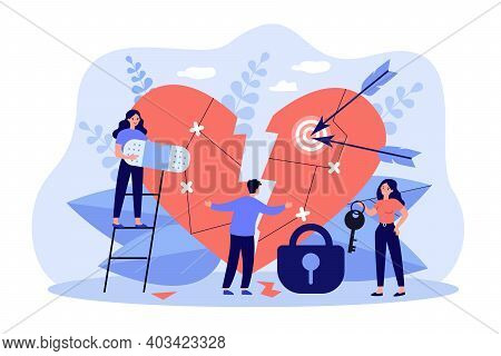 Tiny People Curing Broken Heart Flat Vector Illustration. Cartoon Vulnerable And Sensitive Person Fi