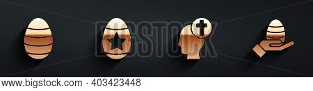 Set Easter Egg, Easter Egg, Human Head With Christian Cross And Human Hand And Easter Egg Icon With