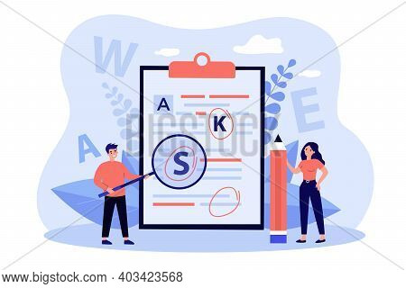 Tiny People Proofreading Text Flat Vector Illustration. Cartoon Students Checking Grammar Errors In