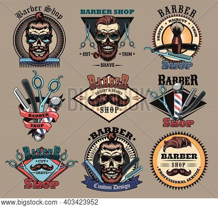 Barbershop Labels Set. Barber Emblem With Skulls With Beard And Trendy Male Haircut, Scissors, Brush