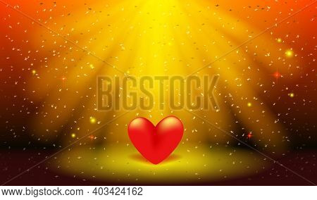 Greeting Card For Valentine's Day, Wedding, Mother's Day. 3d Red Heart On The Stage. Red Heart In Th