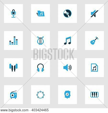 Audio Icons Colored Set With Instrument, Octave, Cd And Other Music Lover Elements. Isolated Vector
