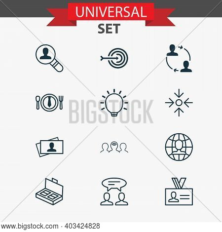 Corporate Icons Set With Mentoring, Partnership, Business Documents And Other Calling Card Elements.