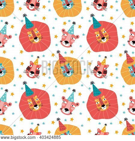 Happy Birthday Hand Drawn Seamless Pattern. Funny Lion, Panther, Tiger In Holiday Cap Among The Star