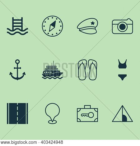 Tourism Icons Set With Motor Ship, Road, Swimming Pool And Other Cardinal Direction Elements. Isolat