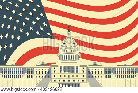 Vector Banner Or Card With Image Of The Us Capitol Building In Washington Dc, Close Up In Retro Styl