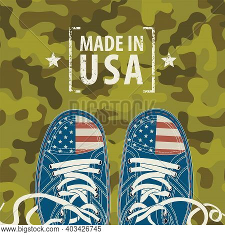 Vector Banner With Words Made In Usa And Stylized Sneakers With American Flag Colors On A Camo Backg