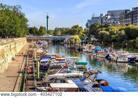 Paris, France - August 30, 2019: This Part Of The Saint Martin Canal Near Bastille Square, Known As