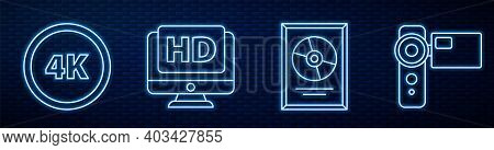 Set Line Cd Disk Award In Frame, 4k Ultra Hd, Monitor With Hd Video And Cinema Camera. Glowing Neon
