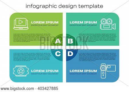 Set Line Cinema Ticket, Online Play Video, Cinema Camera And Cinema Camera. Business Infographic Tem