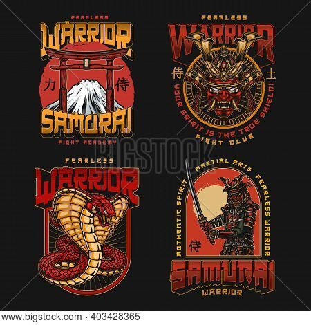 Mixed Martial Arts Fight Club Logos In Vintage Style With Samurai Warrior Aggressive Snake Torii Gat