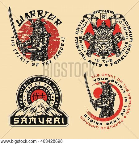 Samurai Warrior Prints In Vintage Style With Letterings Japanese Soldiers And Fujiyama Mountain Isol