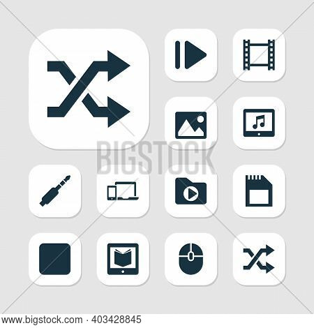 Multimedia Icons Set With Dossier, Sd Card, Image And Other Control Device Elements. Isolated Illust