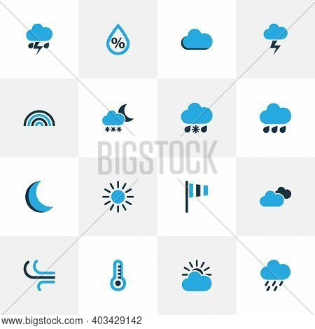 Air Icons Colored Set With Moon, Snowfall, Drizzle And Other Thunderstorm Elements. Isolated Illustr