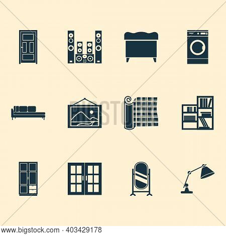 Housing Icons Set With Door, Table Lamp, Sound System And Other Casement Elements. Isolated Illustra