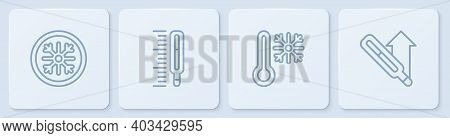 Set Line Snowflake, Thermometer With Snowflake, Medical Thermometer And . White Square Button. Vecto