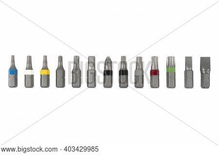 Mechanics Tool Set Isolated On White Background.  Macro Shot Mechanics Tool Kit Isolated. Set Of Wor