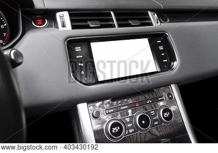 Monitor In Car With Isolated Blank Screen Use For Navigation Maps And Gps. Isolated On White With Cl