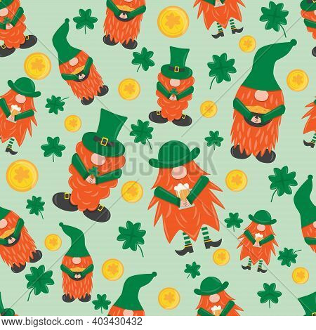 St. Patrick S Day Leprechaun. Seamless Pattern With 3 Cute Funny Garden Irish Gnome With Clover, Bee