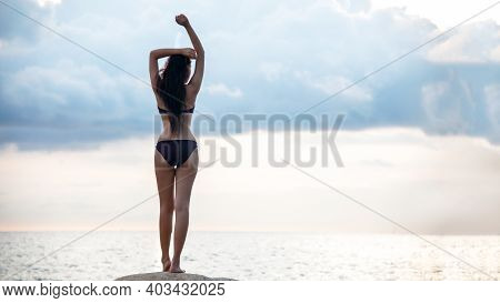 Summer Holiday. Lifestyle Woman Raise Arms Chill And Relax With Wearing Bikini Fashion Summer Trips