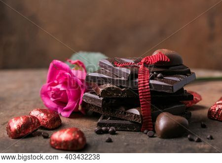 Chocolate With Ribbon, Rose  And Heart On St. Valentine's Day Love.chocolate Candy. Valentines Day