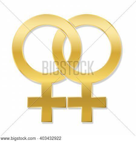 Lesbian Love Symbol, Golden Emblem Style, Isolated Vector Logo Illustration On White Background.