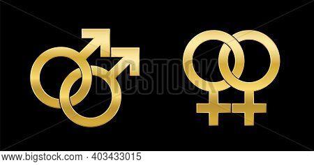 Gay And Lesbian Love Symbols, Golden Emblem Style, Isolated Vector Logo Illustration On Black Backgr
