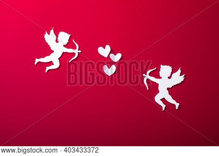 Flying Cupid Silhouette,  Happy Valentine's Day Banners, Paper Art Style. Amour On Red Paper, Romant